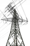 Electricity pylon and power lines. Against white background Stock Photos