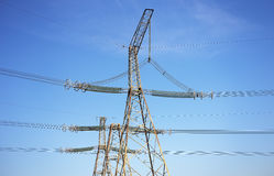 Electricity Pylon and Power Lines Stock Images