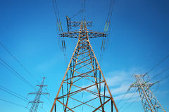 Electricity Pylon and Power Lines Stock Photography