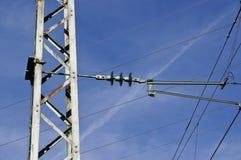 Electricity pylon for railways Royalty Free Stock Photography
