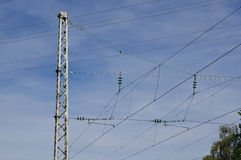 Electricity pylon for railways Royalty Free Stock Images