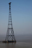 Electricity Pylon and Severn Bridge Royalty Free Stock Photos