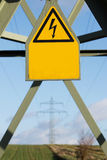 Electricity pylon with sign Stock Photography