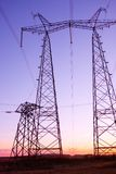 Electricity pylon on sunrise Stock Photography