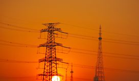 Electricity pylon. Sunset. Stock Images