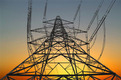 Electricity pylon. At sunset stock photo
