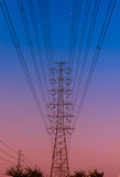 Electricity pylon at the sunset Stock Images