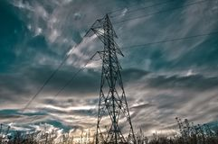 Electricity pylon . Electricity pylon on sunset in HDR Stock Image