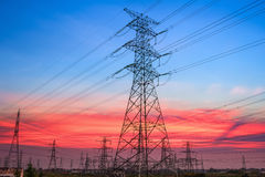 Electricity pylon in sunset Stock Photography