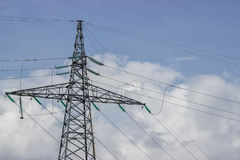 Electricity pylon supporting wires for electrical power distribu Royalty Free Stock Photo