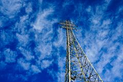 Electricity Pylon. Very electricity pylon with blue sky background royalty free stock images