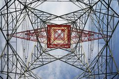 Electricity pylon view from below Royalty Free Stock Photography