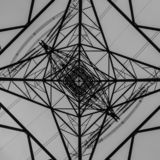 An Electricity Pylon Viewed From Below Looking Towards The Sky royalty free stock photography