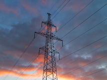 Electricity pylon with wires Royalty Free Stock Photography