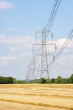 Electricity pylons. In sunny countryside Royalty Free Stock Image