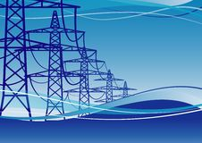 Electricity Pylons. High voltage electricity pylons over sky,  illustration Royalty Free Stock Photography