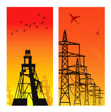 Electricity Pylons. High voltage electricity pylon over sunset Stock Image