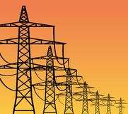 Electricity Pylons. High voltage electricity pylons over sky, vector illustration Stock Images