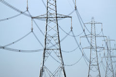 Electricity pylons. Close up of an electricity pylons Royalty Free Stock Photography