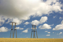 An electricity pylons. With cloudy sky Royalty Free Stock Image