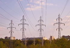 Electricity Pylons. And power lines Stock Images