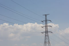 Electricity pylons. And blue sky Royalty Free Stock Photos