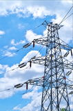 Electricity pylons. With a blue sky Stock Images