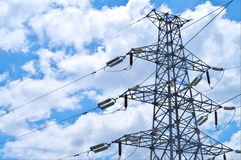 Electricity pylons. With a blue sky Stock Photography