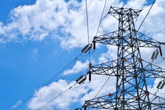 Electricity pylons. With a blue sky Royalty Free Stock Photography