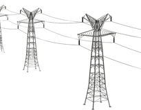 Electricity pylons. 3d generated picture of electricity pylons Royalty Free Stock Photos