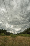 Electricity Pylons in fields with cloudy sky Royalty Free Stock Photo