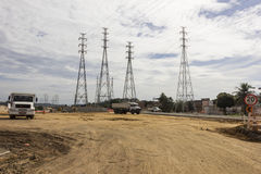 Electricity Pylons - Infrastructure Works Royalty Free Stock Photography