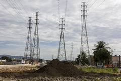 Electricity Pylons - Infrastructure Works Stock Image