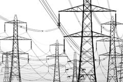 Electricity pylons. Isolated on white Royalty Free Stock Images