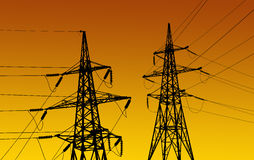 Electricity pylons and line Royalty Free Stock Photo