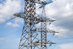 Electricity pylons and line Royalty Free Stock Images