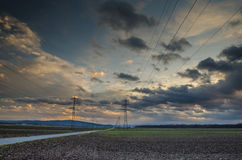 Electricity pylons and line Stock Photo