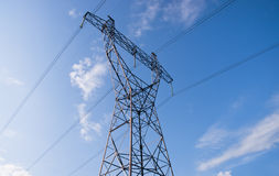 Electricity pylons and lines. Royalty Free Stock Images