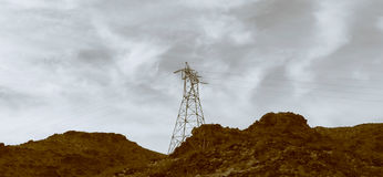 Electricity pylons and lines Stock Images