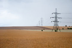 Electricity pylons, Oxfordshire Countryside, UK. Royalty Free Stock Images