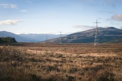 Power to the people. Electricity Pylons and Power Cables strewn across the Scottish Landscape, October 2017,deliverying power to homes Stock Photos