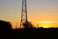 Electricity pylons, power lines Stock Photos