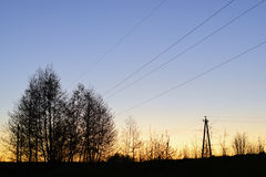 Electricity pylons, power lines Royalty Free Stock Images