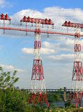 Electricity  pylons,  power lines , high-voltage  towers . Royalty Free Stock Images