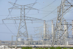 Electricity Pylons And Power Station Stock Images