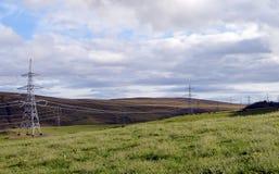 Electricity pylons at Scottish beauty spot, Perthshire, Scotland Stock Photo