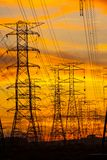 Electricity pylons at sunset Stock Image
