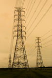 Electricity pylons at sunset near Bangkok Royalty Free Stock Photo