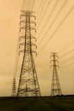 Electricity pylons at sunset near Bangkok Royalty Free Stock Photo