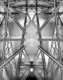 Electricity pylons. Technological background with the power line Royalty Free Stock Photography